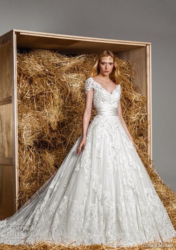 zuhair murad bridal spring 2015 holly strapless sweetheart wedding dress short sleeve lace coat