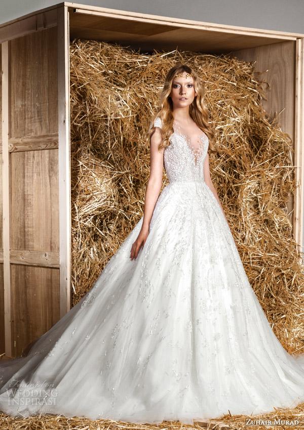 zuhair murad bridal spring 2015 jaimy illusion short sleeve wedding dress full a line overskirt