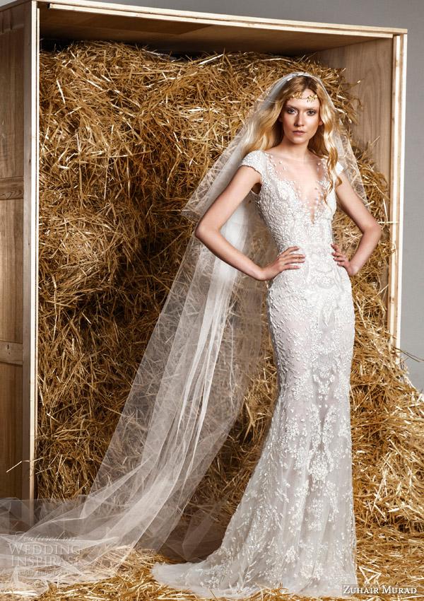 zuhair murad bridal spring 2015 jaimy illusion short sleeve wedding dress