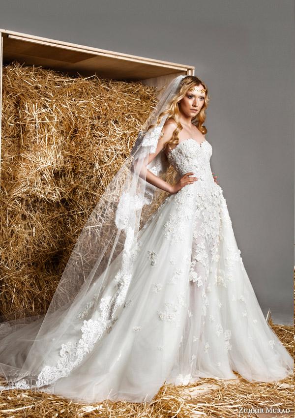 zuhair murad bridal spring 2015 kelly strapless sweetheart trumpet mermaid wedding dress lace appliques overskirt