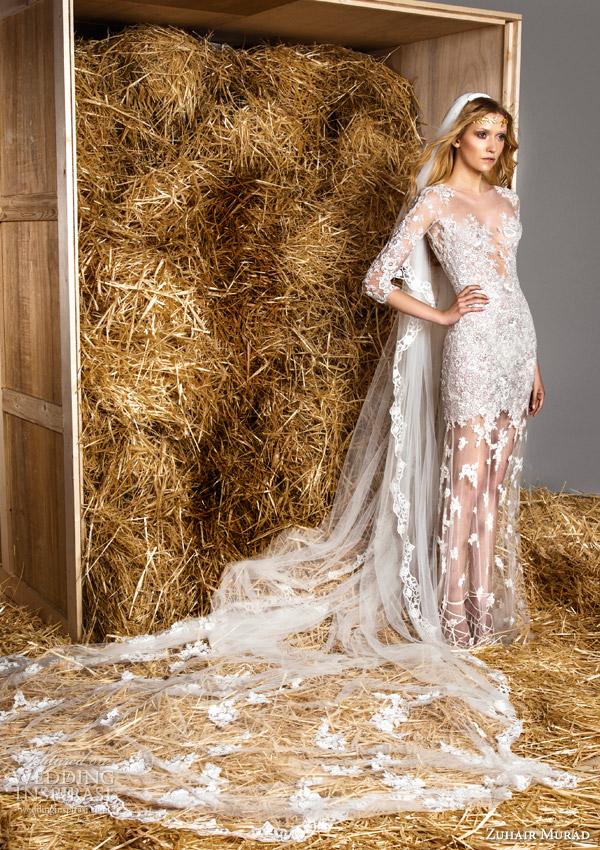 zuhair murad bridal spring 2015 molly illusion neckline bodice wedding dress three quarter sleeves