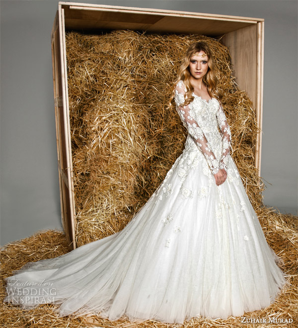 zuhair murad bridal spring 2015 rosy illusion long sleeve full a line or ball gown wedding dress