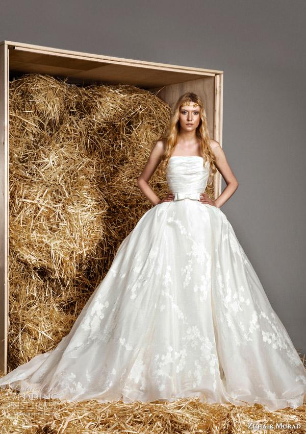 zuhair murad bridal spring 2015 shelby strapless ball gown wedding dress bow waist