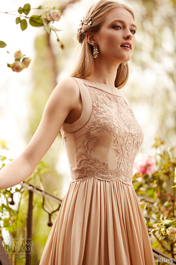 Bhldn Spring 2015 Bridal Bateau Neckline Almond Color Embroidered Bodice  Vintage Short Wedding Dress Alma