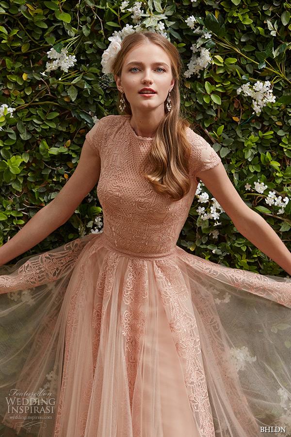 Bhldn spring 2015 bridal cap sleeves jewel neckline blush for Short spring wedding dresses