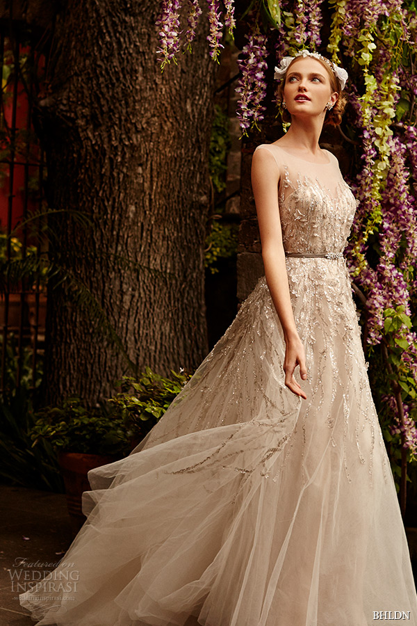 bhldn spring 2015 bridal sleeveless illusion sweetheart neckline metallic lace strips layered tulle skirt sandstone a line wedding dress wisteria