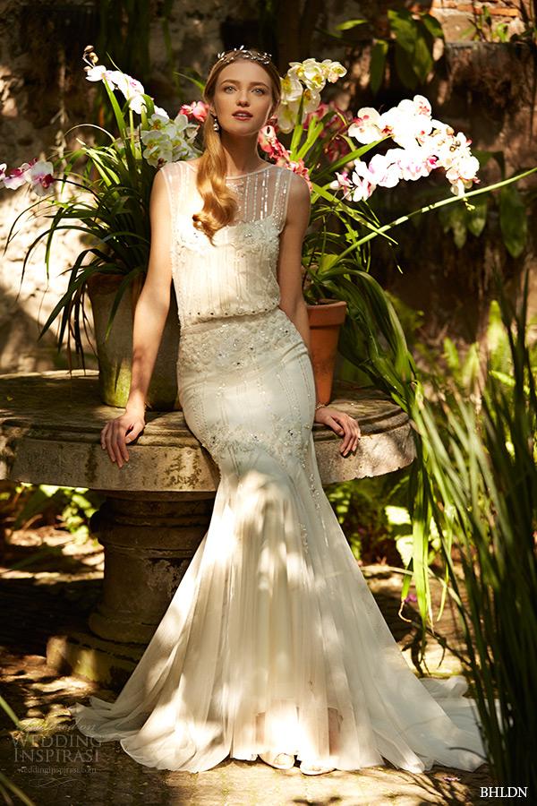 Bhldn Spring 2015 Bridal Sleeveless Sheer Bateau Neckline V Back