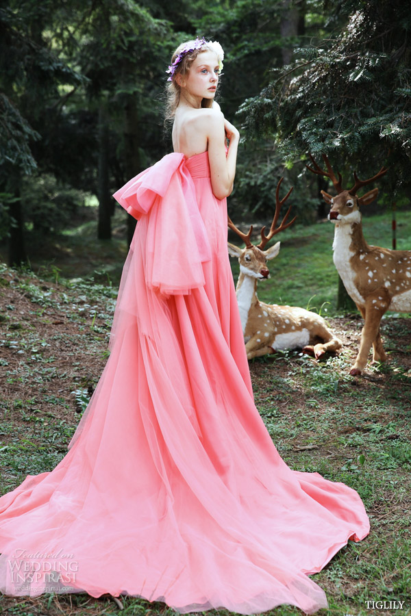 bridal amore tiglily spring summer 2015 angel amore japan wedding dress strapless coral pink gown style c130