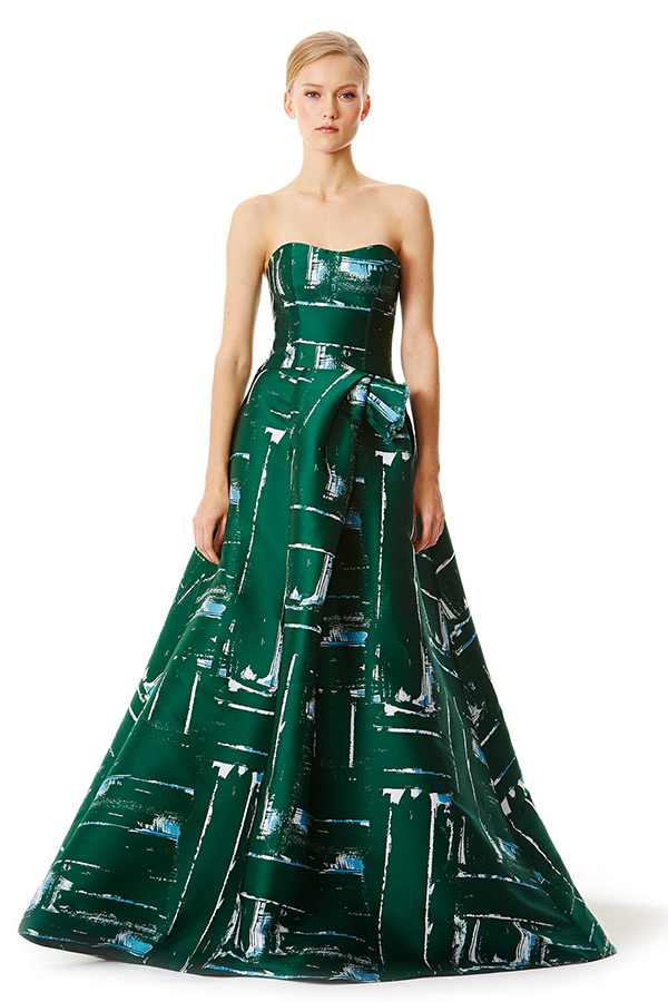 carolina herrera prefall 2015 dresses strapless green ball gown