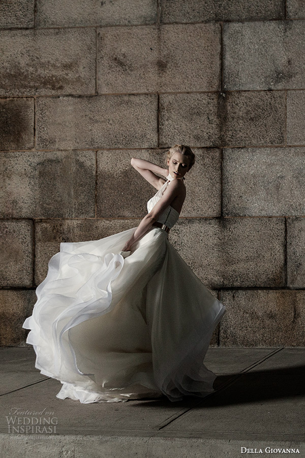 403cc4cd5 della giovanna wedding dress 2015 bridal bustier corset chiffon straps  julia and ruffle ball gown skirt