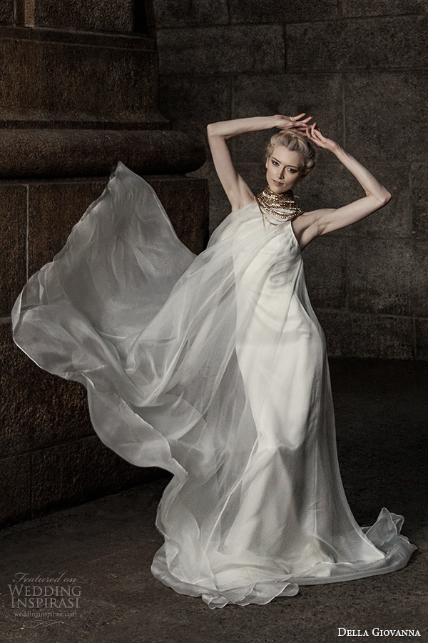 00dcde2c6 della giovanna wedding dress 2015 bridal sleevless silk organza pleated  trapeze gown model alexandria