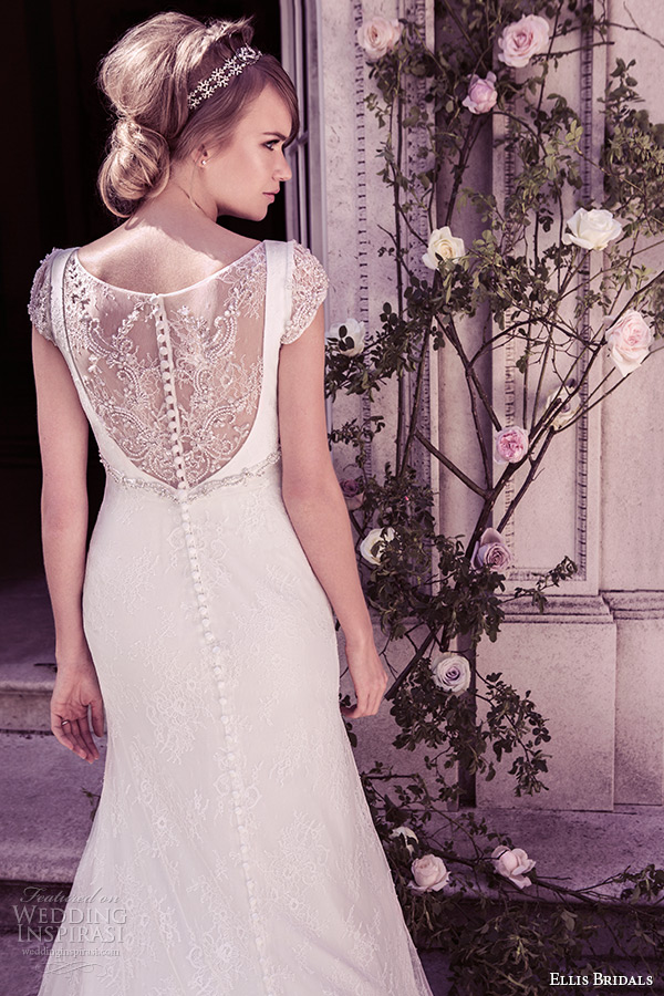 ellis bridal 2015 wedding dress scoop neckline cap lace sleeves a line ivory gown style 11417