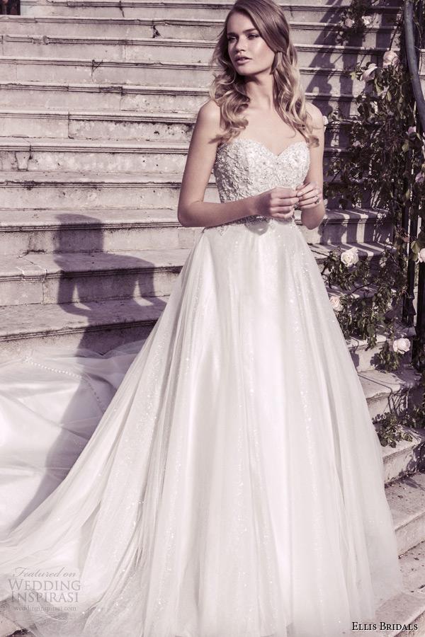 Ellis Bridal 2017 Wedding Dress Strapless Sweetheart Neckline A Line Gown Style 12215