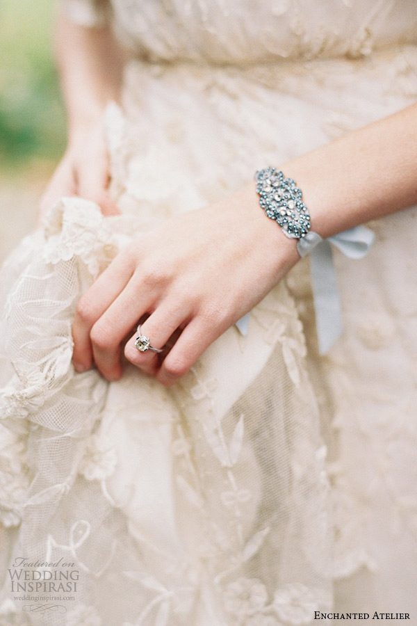 enchanted atelier liv hart bridal jewelry wedding accessories swarovski crystals bluish tone cuff bracelet with ribbon leanne on hand