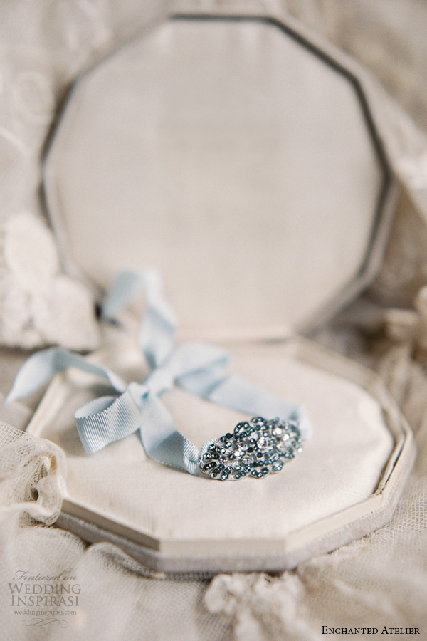 enchanted atelier liv hart bridal jewelry wedding accessories swarovski crystals bluish tone cuff bracelet with ribbon leanne