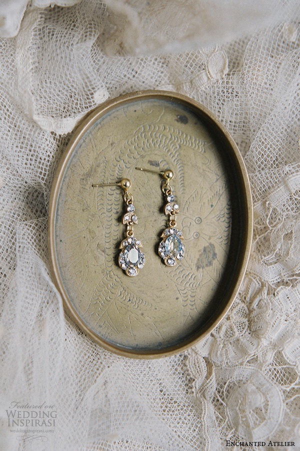 enchanted atelier liv hart bridal jewelry wedding accessories swarovski crystals drop earrings post closure emma