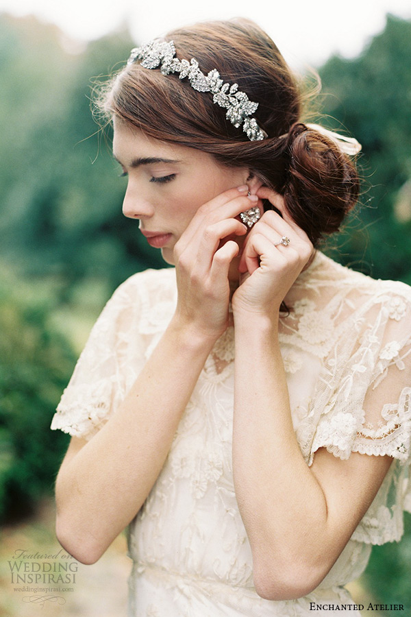 enchanted atelier liv hart bridal jewelry wedding accessories swarovski crystals floral and leaft headband headpiece dauphine