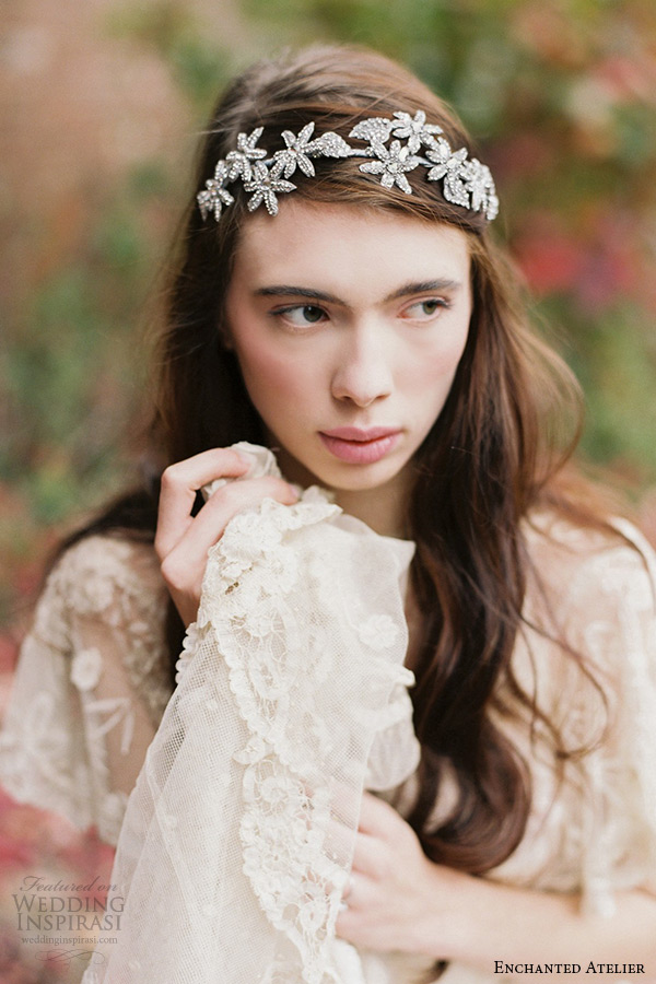 enchanted atelier liv hart bridal jewelry wedding accessories swarovski crystals floral sutton headband headpiece closeup