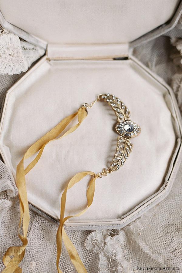 enchanted atelier liv hart bridal jewelry wedding accessories swarovski crystals golden cuff bracelet raw silk ribbon closure juliet