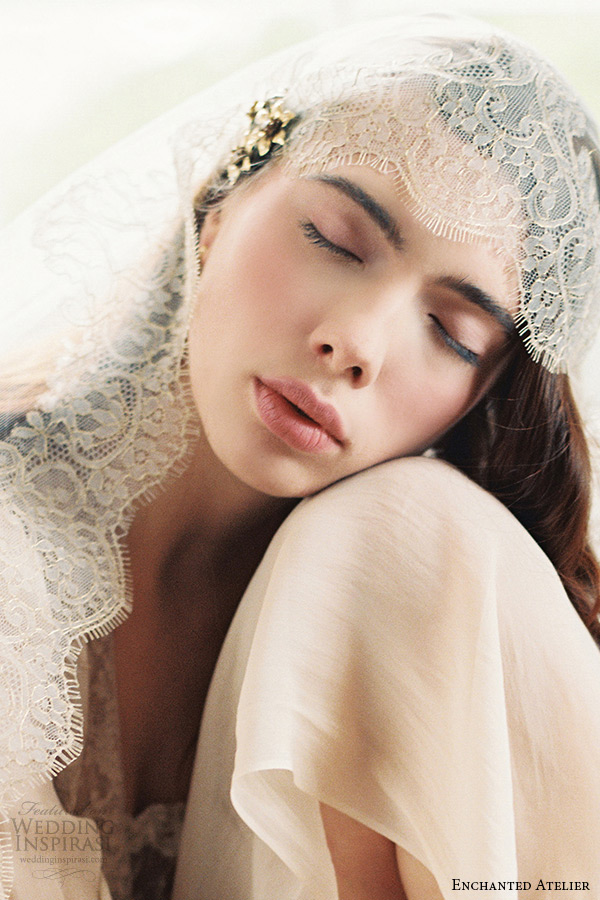enchanted atelier liv hart bridal jewelry wedding veil lace sophie hallette bohemian vintage wedding gilded lace veil
