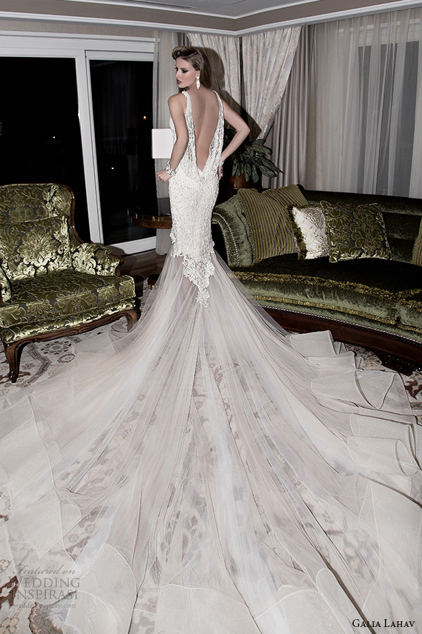 Galia Lahav 2017 Jazz Age Wedding Dress Blush Half Sheer Embridered Ivory Low Cut Gown