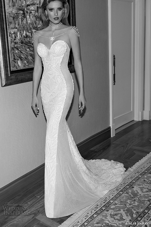 Galia Lahav 2017 Jazz Age Wedding Dress Strapless Bustier Bodice Sheer Sided Art Deco Sheath Bridal Gown Style Joyce 1513