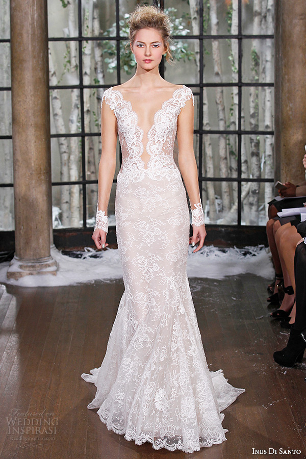 ines di santo fall winter 2015 couture wedding dress cap sleeves lace deep  plunging neckline mermaid 9a41e051c