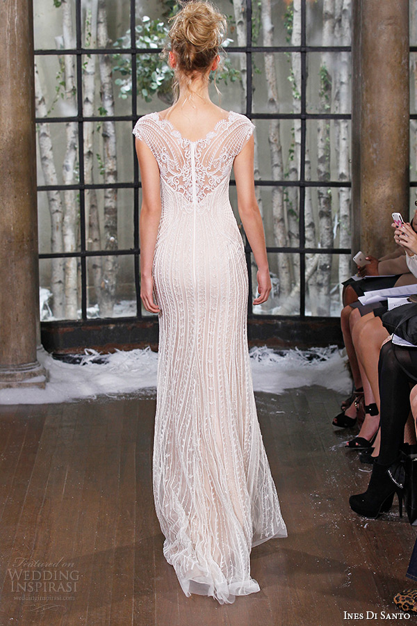 ines di santo fall winter 2015 couture wedding dress cap sleeves lace sheer boat neckline sheath bridal gown riga back