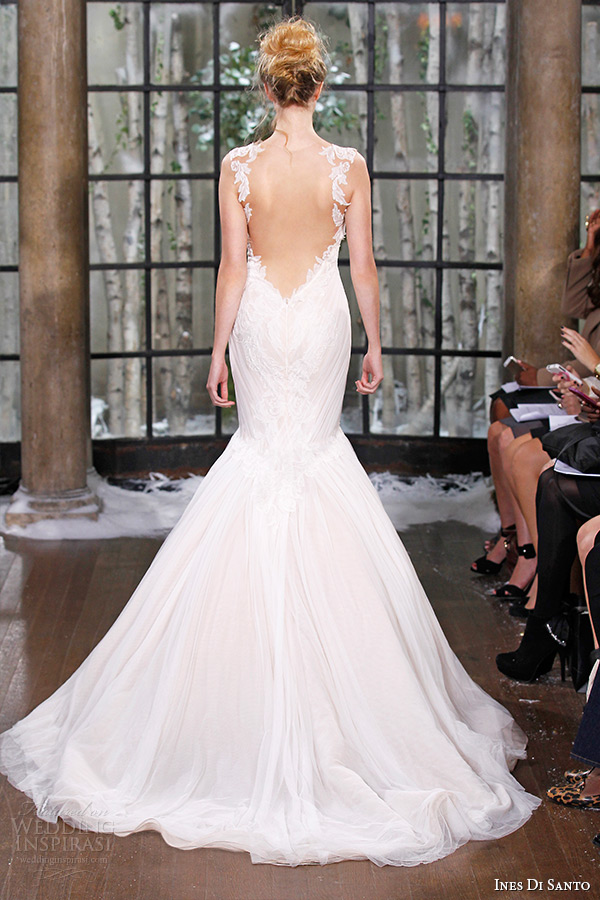 ines di santo fall winter 2015 couture wedding dress lace strap sweetheart neckline mermaid bridal gown rome back