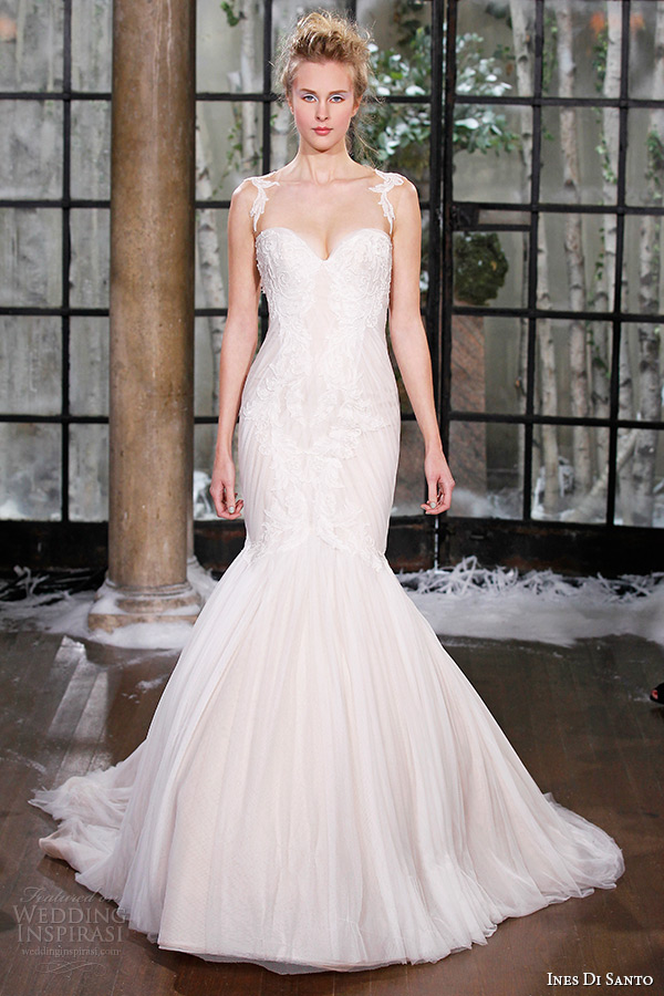 ines di santo fall winter 2015 couture wedding dress lace strap sweetheart neckline mermaid bridal gown rome