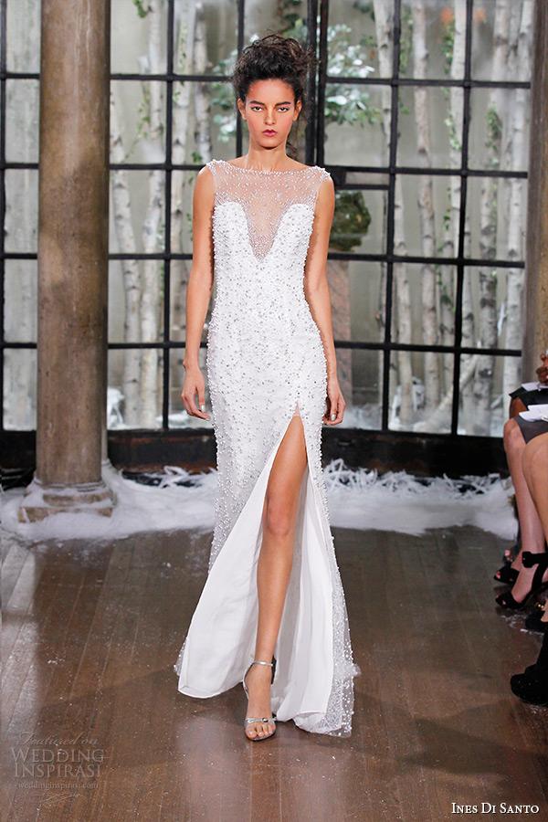ines di santo fall winter 2015 couture wedding dress sheer bateau neckline plunging bodice neckline high slit illusion back sheath gown zaragoza