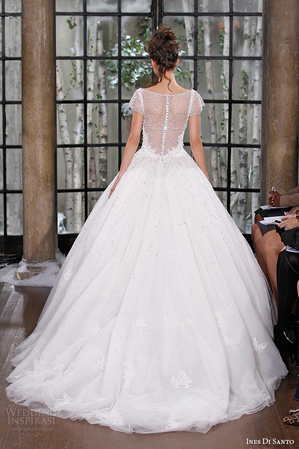 ines di santo fall winter 2015 couture wedding dress sheer cap sleevess scoop neckline sheer bateau ball gown cologne back