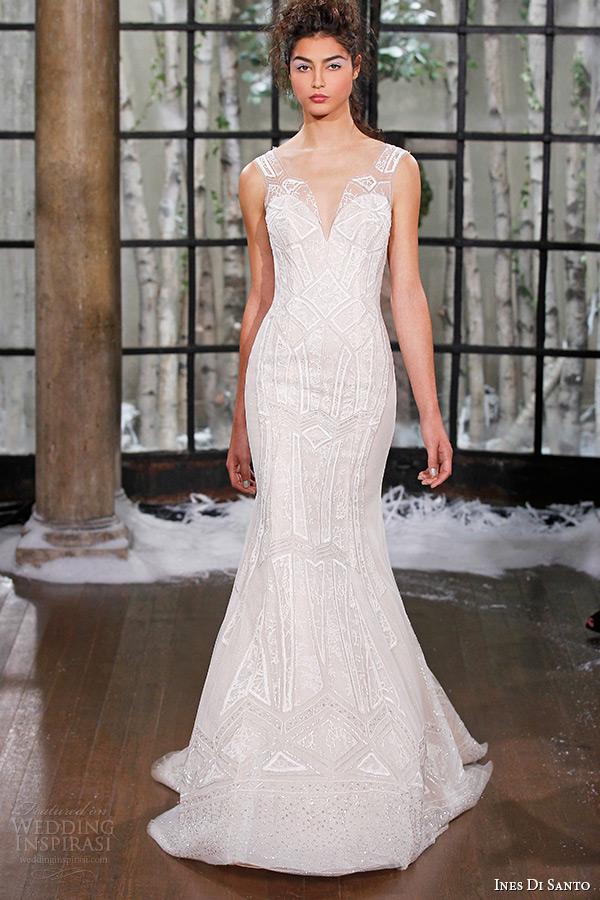 ines di santo fall winter 2015 couture wedding dress sleeveless deep sweetheart neckline seville