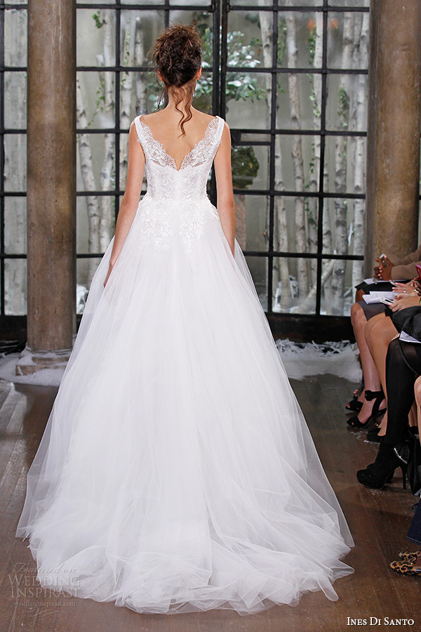 ines di santo fall winter 2015 couture wedding dress sleeveless plunging neckline tulle ball gown nimes back