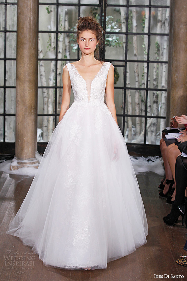 ines di santo fall winter 2015 couture wedding dress sleeveless plunging neckline tulle ball gown nimes