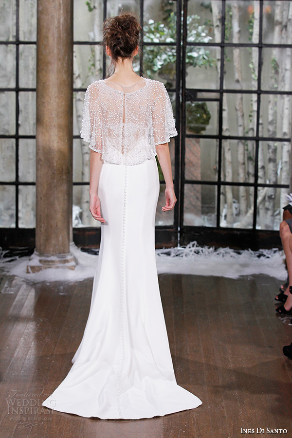 ines di santo fall winter 2015 couture wedding dress sleeveless v neckline sheath bridal gown limoges back