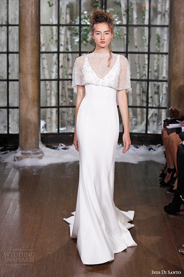 ines di santo fall winter 2015 couture wedding dress sleeveless v neckline sheath bridal gown limoges
