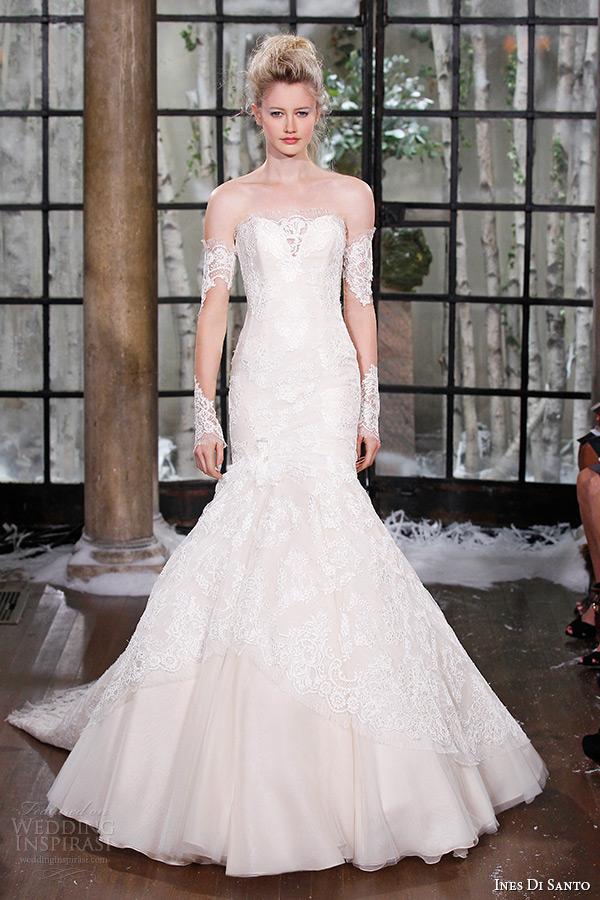 ines di santo fall winter 2015 couture wedding dress strapless lace v  scallop neckline trumpet bridal 04105f41d