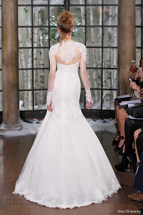 ines di santo fall winter 2015 couture wedding dress strapless long sheer lace sleeves mermaid bridal gown larissa back