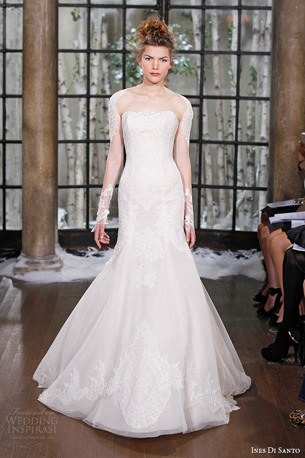 ines di santo fall winter 2015 couture wedding dress strapless long sheer lace sleeves mermaid bridal gown larissa
