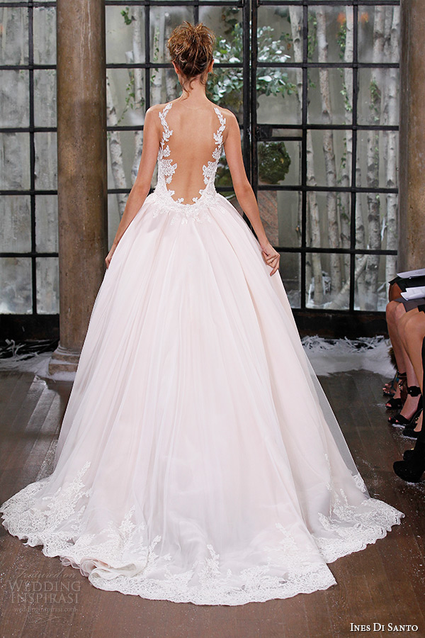 ines di santo fall winter 2015 couture wedding dress strapless pink fit flare bridal gown illusion back barcelona back