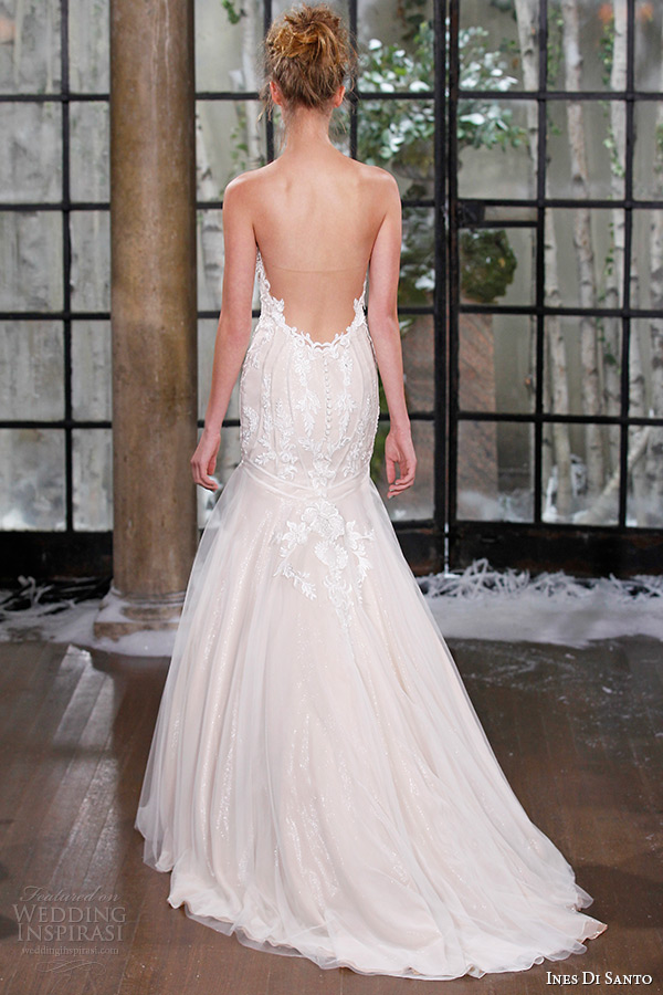 ines di santo fall winter 2015 couture wedding dress strapless plunging v neckline fit flare bridal gown nantes back