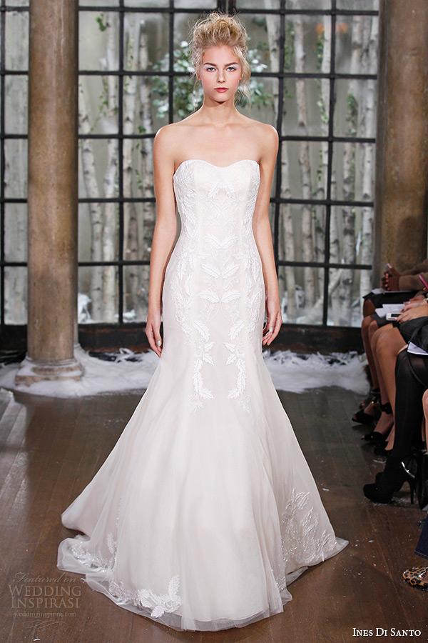ines di santo fall winter 2015 couture wedding dress strapless semi sweetheart neckline trumpet bridal gown almada