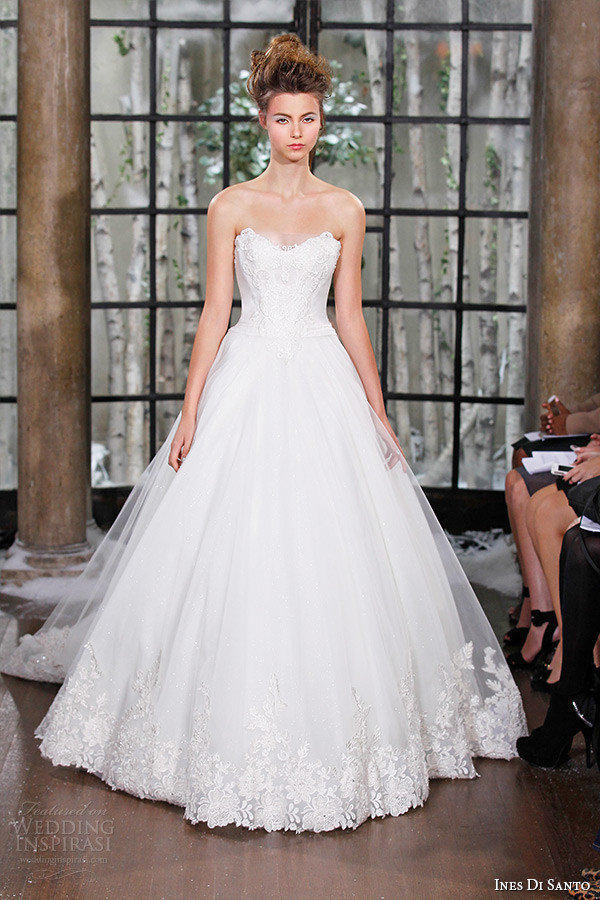 ines di santo fall winter 2015 couture wedding dress strapless sweetheart neckline bridal ball gown chapel train palermo