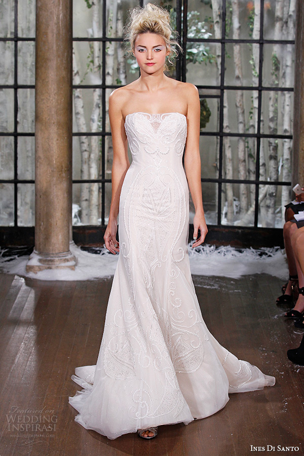 ines di santo fall winter 2015 couture wedding dress strapless sweetheart neckline fit flare bridal gown chapel train zabize