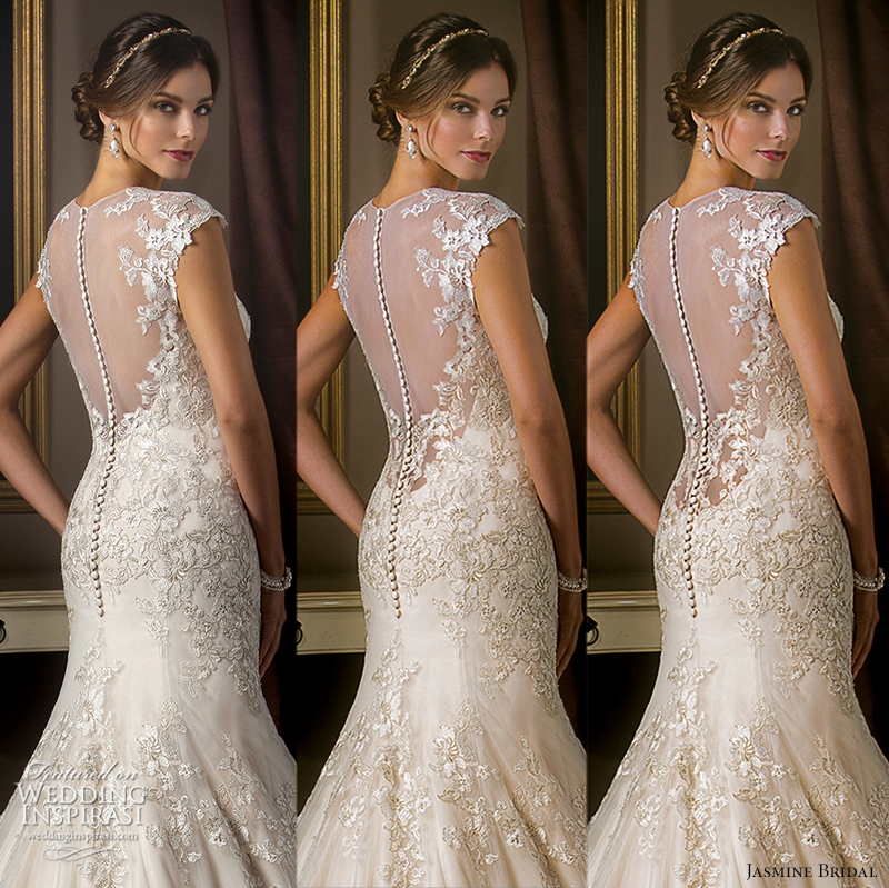 Jasmine Bridal 2015 Wedding Dress Sheer Back Original Cut 35 Inch Low 5