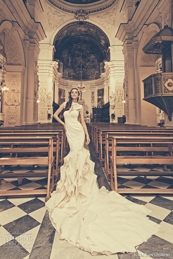 julia kontogruni bridal 2015 wedding dress jewel lace neckline with bustier bodice mermaid gown chapel train
