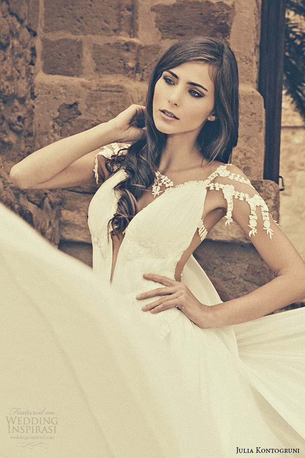 julia kontogruni bridal 2015 wedding dress jeweled strap cap sleeves plunging neckline a line gown watteau train closeup