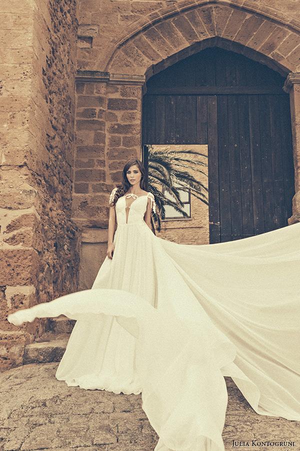 julia kontogruni bridal 2015 wedding dress jeweled strap cap sleeves plunging neckline a line gown watteau train