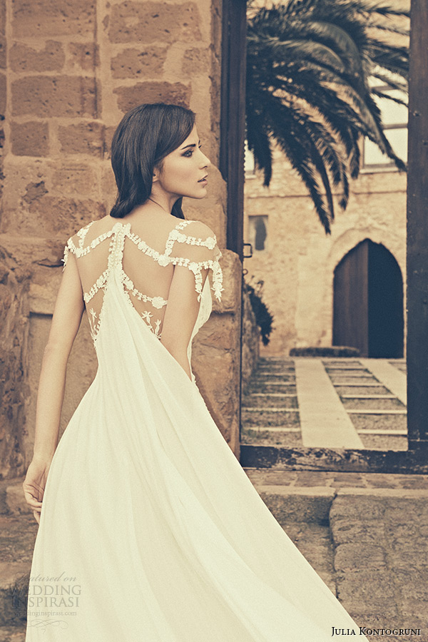 julia kontogruni bridal 2015 wedding dress jeweled strap cap sleeves plunging neckline watteau train back closeup